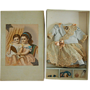 Antique French bebe dress set in box
