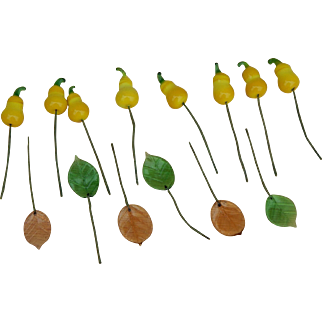 Rare antique doll millinery glass pears & leaves