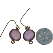 Antique doll glass earrings, dusty pink