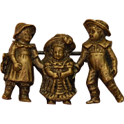 Antique pin:children w/ French bebe