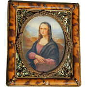 Antique French Mona Lisa portrait miniature