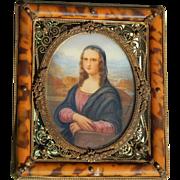Antique French Mona Lisa portrait miniature