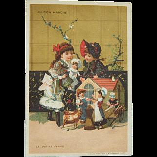 Au Bon Marche dolls trade card