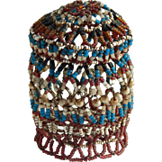 Antique beaded jewelry box for doll