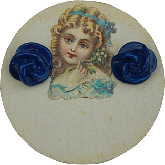 Antique doll earrings on card #2