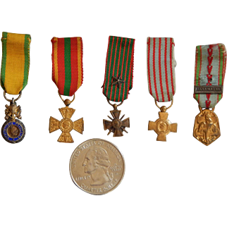 Old miniature French military medals for dolls