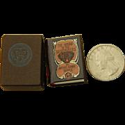 Tiny leather bound book w/box, top quality!