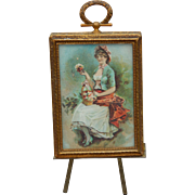 Antique miniature picture with easel