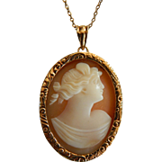 Lovely antique 10K gold cameo necklace