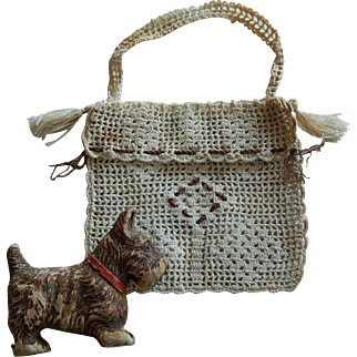 Antique doll purse & Scottie dog
