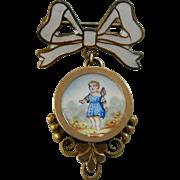 Antique enamel putti pin for bebe