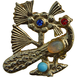 Lovely old peacock pin for doll