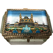 Antique French Beveled Glass Eglomise Trinket Box Grand Palais 1900