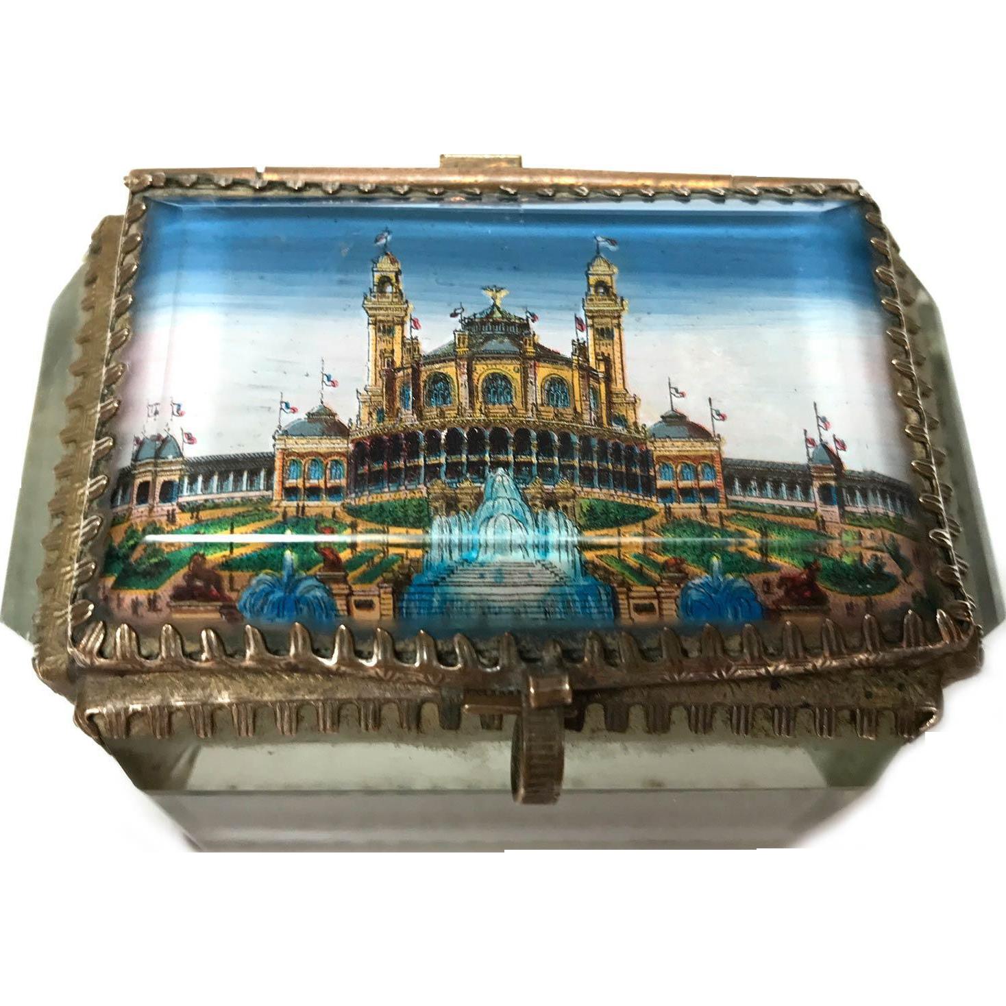 Antique French Beveled Glass Eglomise Trinket Box Grand Palais 1900