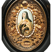 French Gilded Paperolle Monastery Convent Work Reliquary Ste. Therese