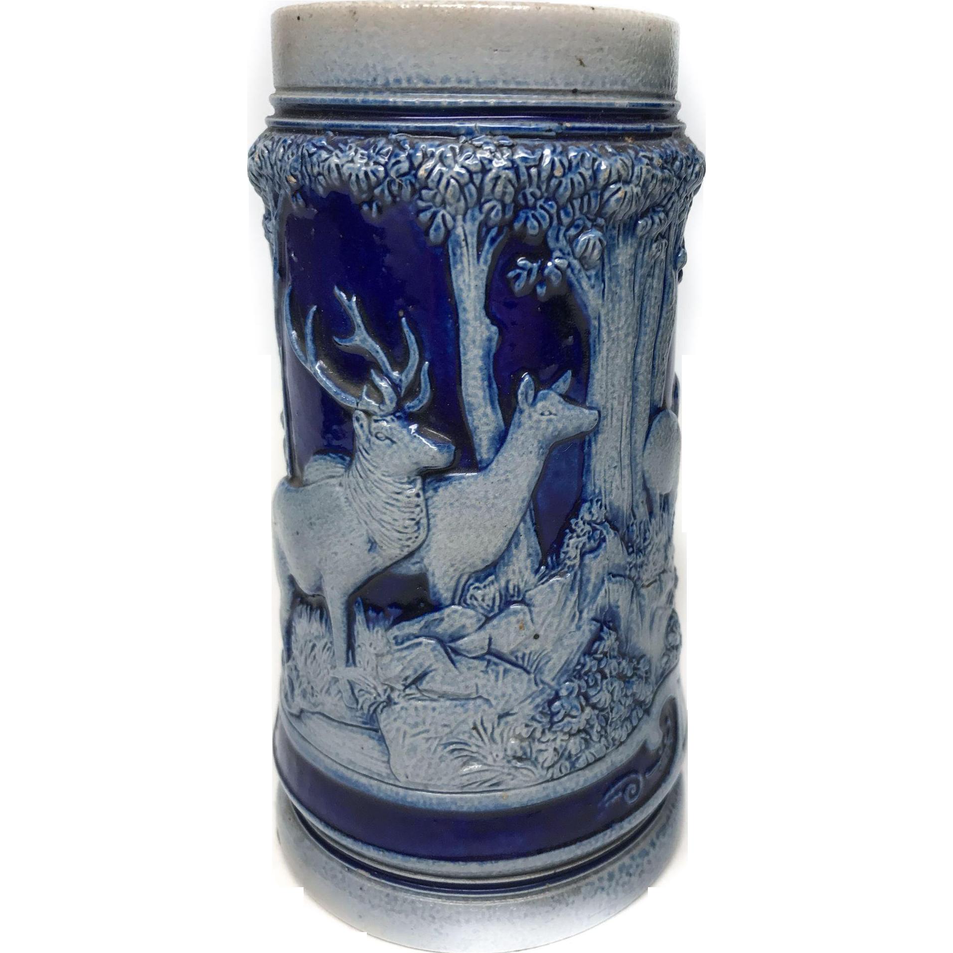 Vintage Ceramic German Salt Glaze Figural Stein