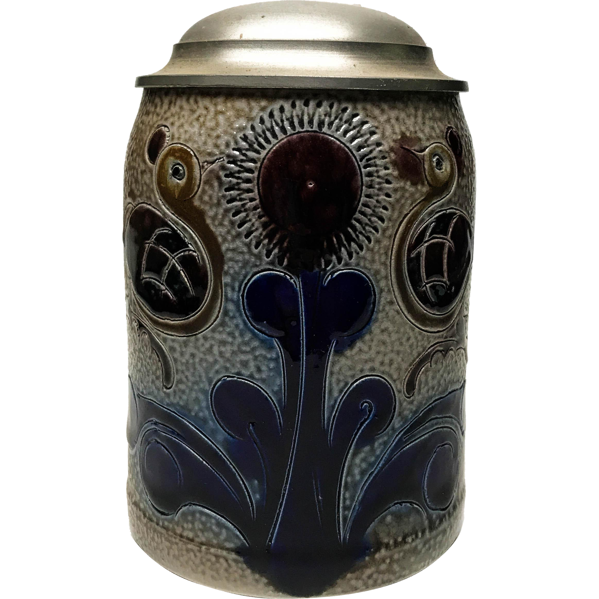 Vintage German Salt Glaze Stein with Pewter Lid and Thumb Latch