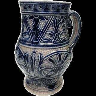 Antique German Salt Glaze Pottery Wine Pitcher