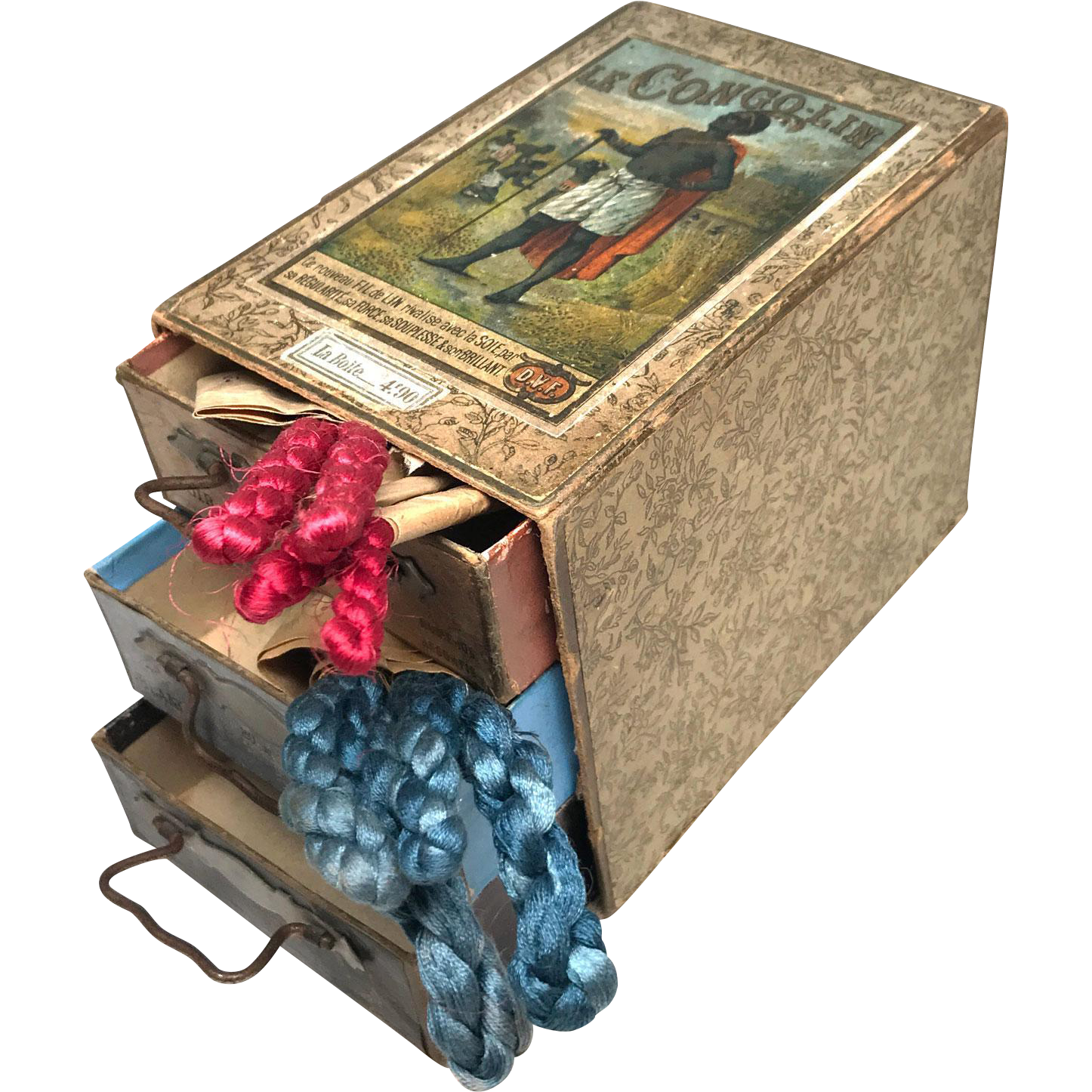 """RARE Antique Nineteenth Century Embroidery Sewing Box """"Le Congo"""""""