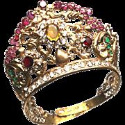 Antique Nineteenth Century French Gilded  Brass Religious Diadem Santos Crown