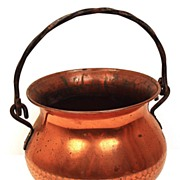 Old French Standing Kettle Copper Pot w/Handle