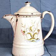 Antique French Small Coffee Pot w/Hand Painted Flowers