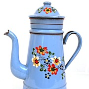 Vintage 1920's  French Hand-Painted Enamel Biggins Cafetiere