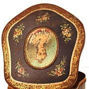 Antique French Biscuit Tin w/ Portrait