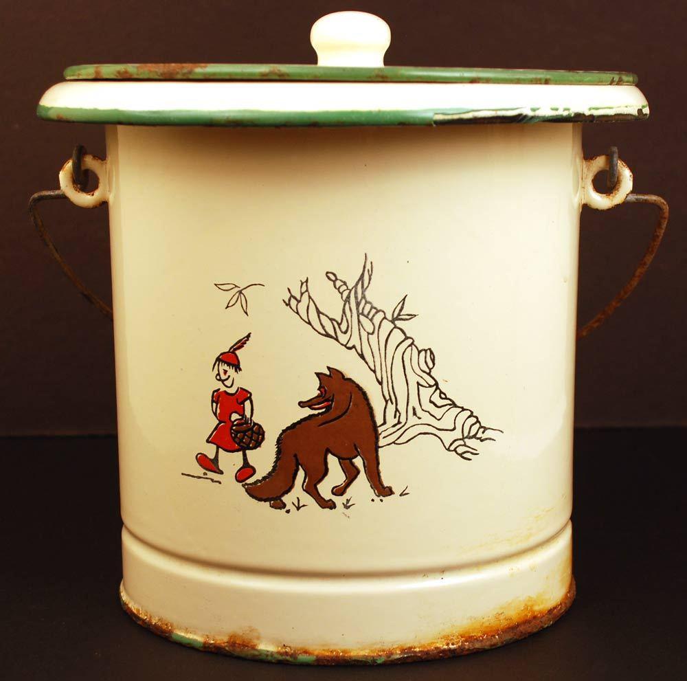 """Vintage French Enamel Pail w/Lid """"Le Petit Chaperon rouge"""""""