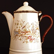 Antique Nineteenth Century French Enamel Coffeepot
