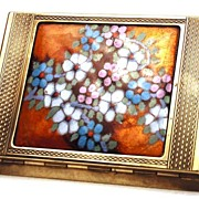 French Bronze/Art Glass Compact  Case