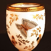 Antique French Boulle de Savon Opaline Glass Vase w/Handpainted Butterflies