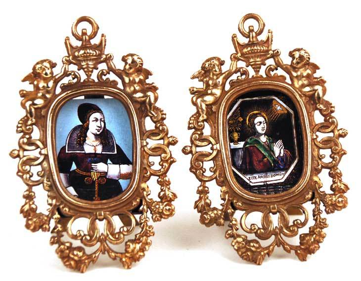 Vintage Pair of Bronze Miniature Picture Frames