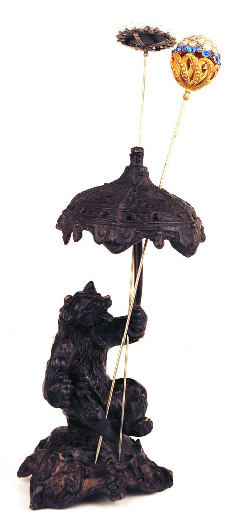 French Bronze Figural Hatpin Holder (Bear and Umbrella)