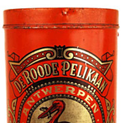 "Antique French/Dutch Red Coffee Tin ""Le Pelican Rouge"""