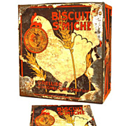 "Rare Antique French Biscuit Tin ""Biscuit St. Michel"""