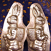 Rare Large Two Sided Standing Easter Rabbit Metal Chocolate Mold (German)