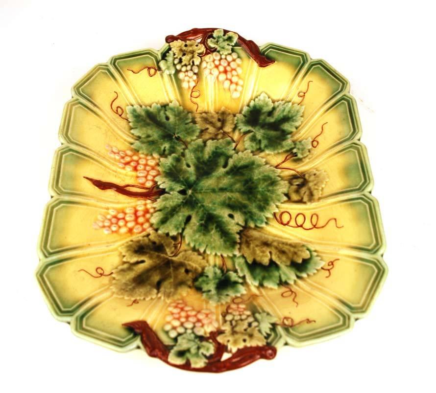 Antique French Majolica Serreguemines Platter