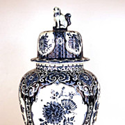 Vintage Hand Painted Delft Blue Ginger Vase