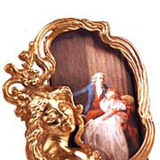 Miniature Cast Bronze/Metal Figural Picture Frame