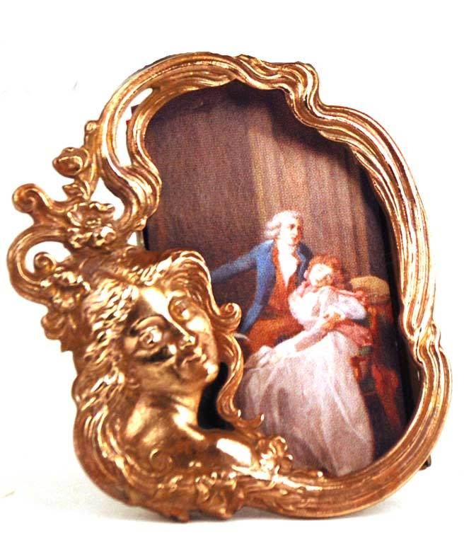Miniature Cast Bronze/Metal Figural Picture Frame