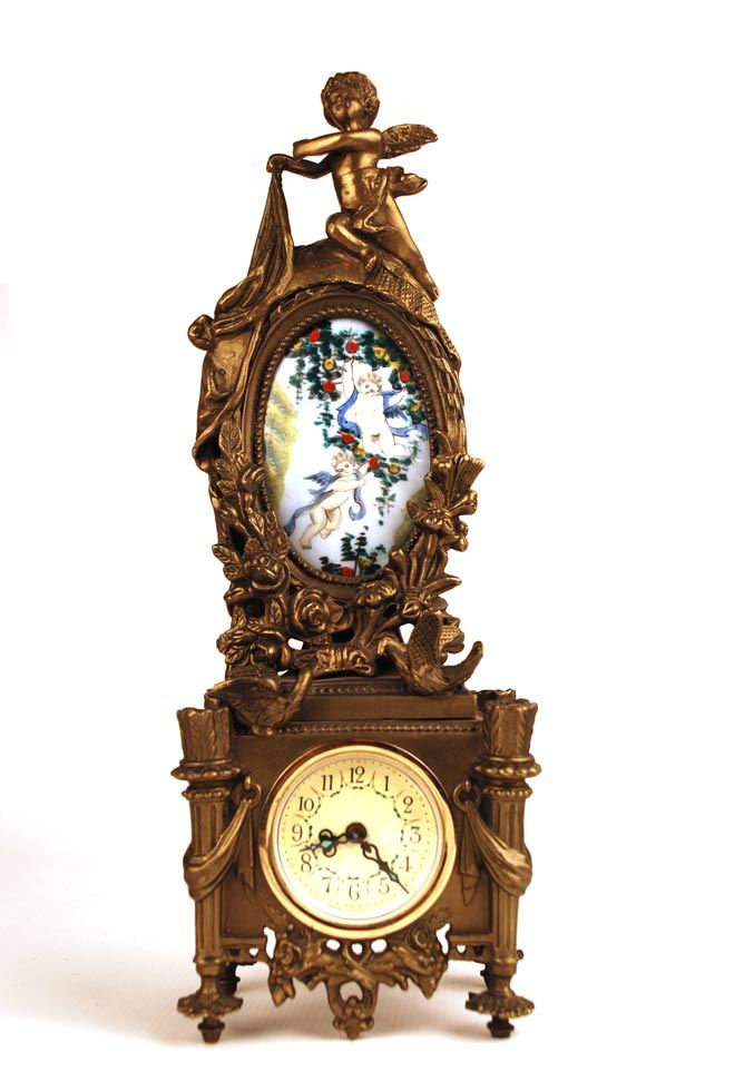 German Figural Bronze Mantle Clock w/Hand Painted Porcelain Medallion