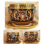 Antique French Faience Gien Renaissance Jardiniere (w/platter)