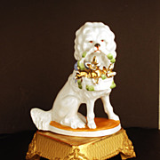 German Porcelain Figural Dog w/Baby Pigs in Basket