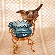 Antique French Vide Poche w/Bisque Songbird and Gilded Brass Mount
