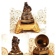 Antique French Figural Gilded Bronze Cloche a Table (Table Bell for Servant)