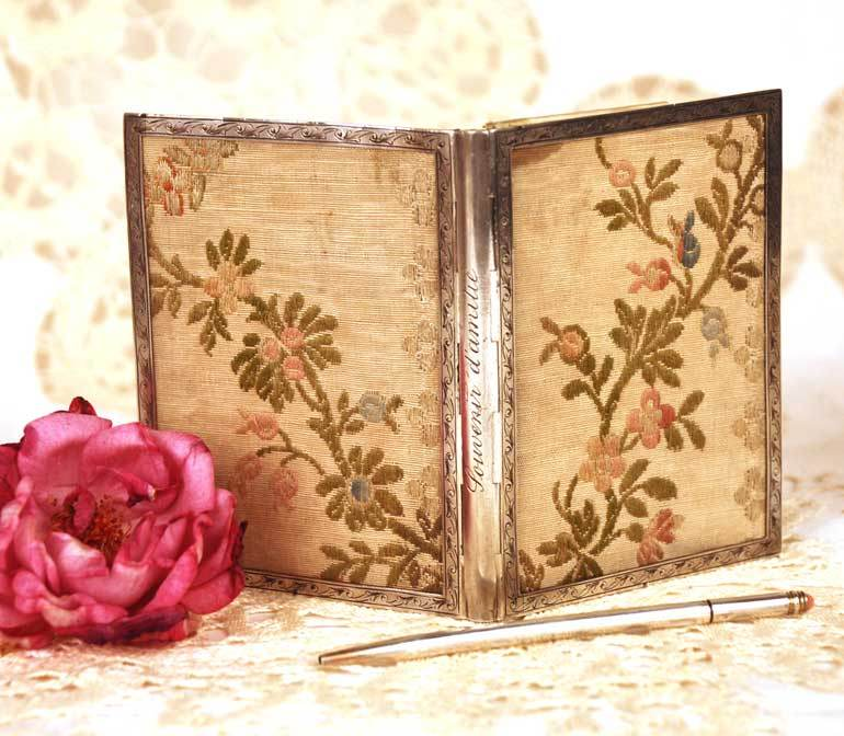 Antique French Silver and Brocade Carnet