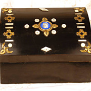 Antique French Black Lacquer Wooden Box w/Porcelain Medallion and Bronze Ormolu