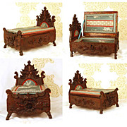Rare Antique French Hand Carved Walnut Boudoir Box in Form of Miniature Bed