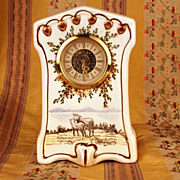 West Germany Porcelain Mantel Clock w/Handpainted Pastoral Scene